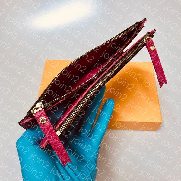 M61269 adele wallet tyli h de igner fa hion women long dual zipper adÈle wallet trendy luxury evening clutch coin card pur e holder canva, Red;black