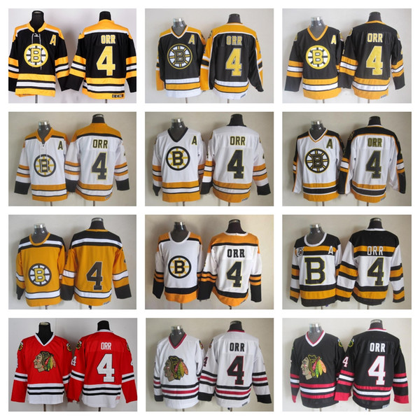 new arrival 48e74 24db8 Top Quality Mens #4 Bobby Orr Jersey Boston Bruins Chicago Blackhawks Bobby  Orr Hockey Jerseys Vintage CCM 4 Bruins Lace Stitched A Patch UK 2019 From  ...