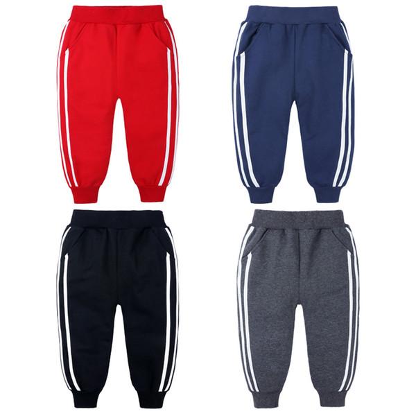 best selling Fashion Sports Girls Boys Pants White Striped Candy Color School Cotton Spring Autumn Pant Leggings Trouser Children Kid Leggins B1