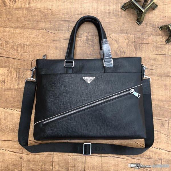 High-end Luxury Men S Briefcase Portable Messenger Bag Leather Production Designer Bag Black Business Casual Dual-use Number: 1255-1.