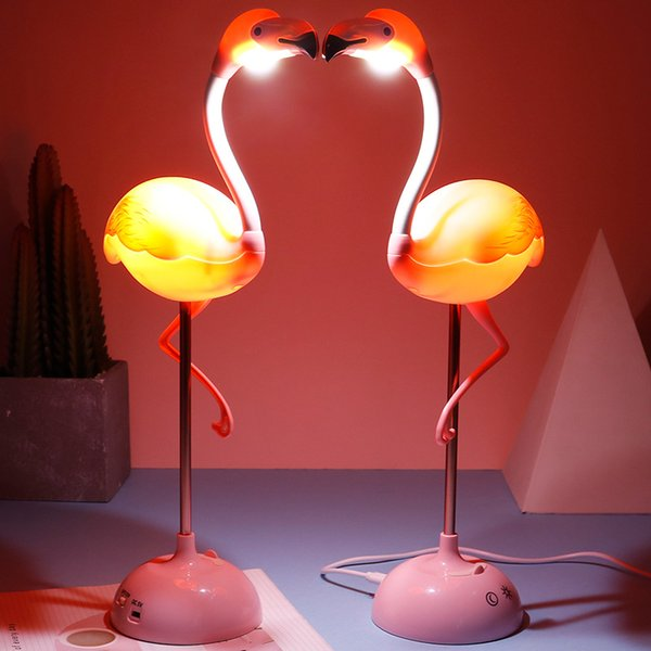 best selling LED Flamingo Night Light Touch Reading Table Lamp for Children USB Charging Living Room Bedroom cartoon baby Decor Light Lighting FFA3765-1