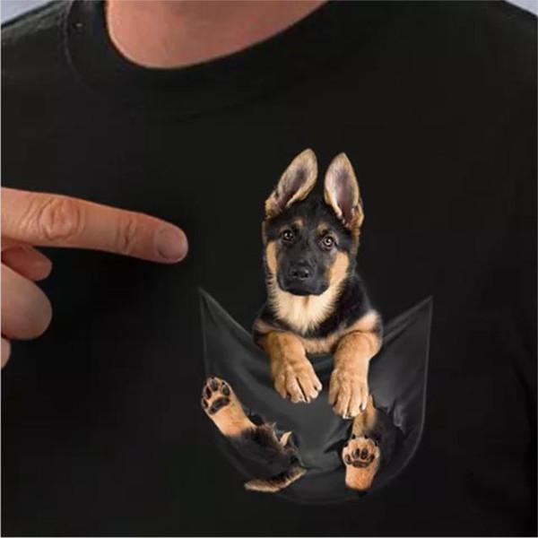 Alman Çoban Cebinde T Gömlek Köpek Severler Siyah Pamuk Erkekler S-6XL ABD Tedarikçisi. Serin Rahat gurur t gömlek Unisex Moda tshirt