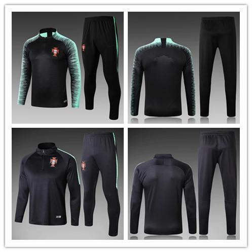 best selling PORTUGAL tracksuit 2018 World Cup RONALDO black 18-19 Portugal Training suit pants football training clothes sportswear men Sweater set
