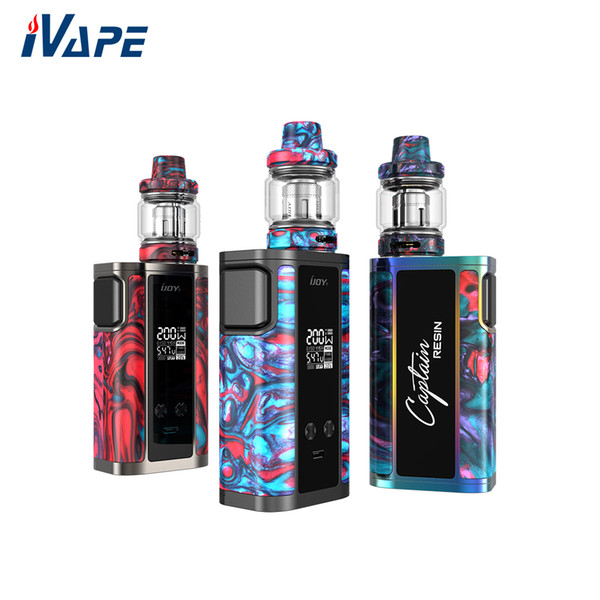 100% Original IJOY Captain Resin 200W TC Kit With Captain Resin Tank 6ml  Retractable Top Refill With Innovation Mesh Coil V2 Cigs Ecig From