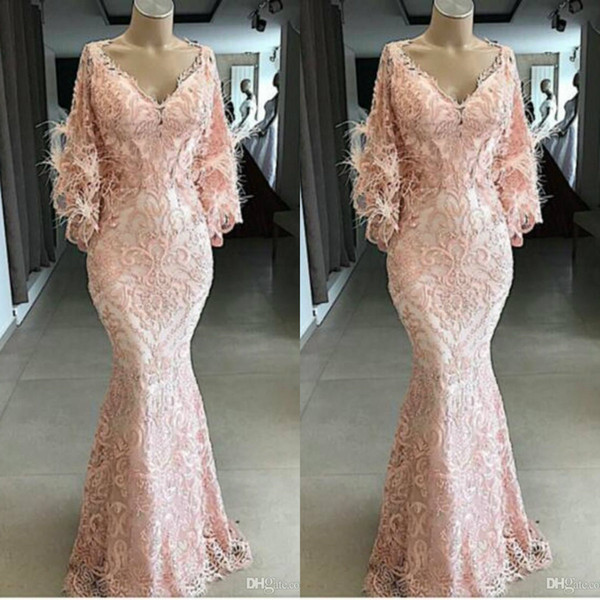 yousef aljasmi 2020 evening dresses v neck lace appliqued pink feather mermaid prom gowns long sleeves sweep train special occasion dress, Black;red