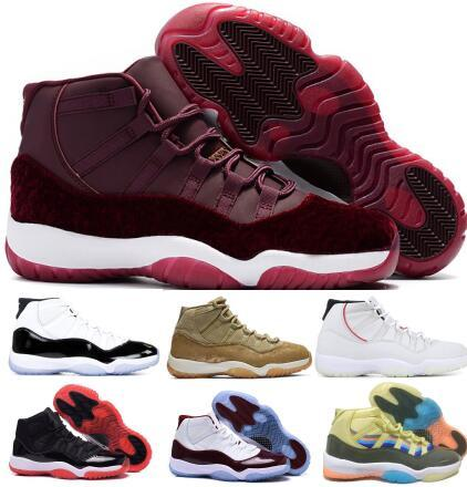 11 11s Basketball Shoes Sneakers 2019 Mens Women Gym Red Bred Platinum Tint Heiress Velvet Like 96 82 Space Jam Concord XI Shoes