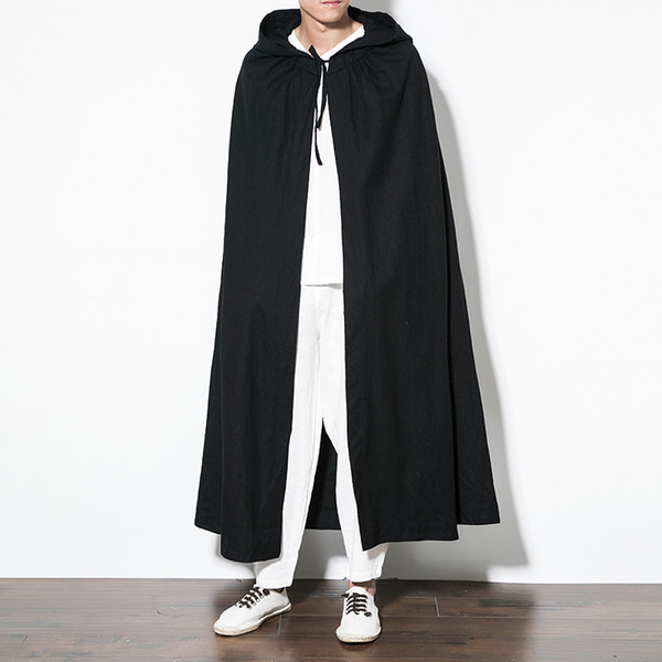 Pure color hooded cloak jacket men Chinese retro style trench coat men 5XL