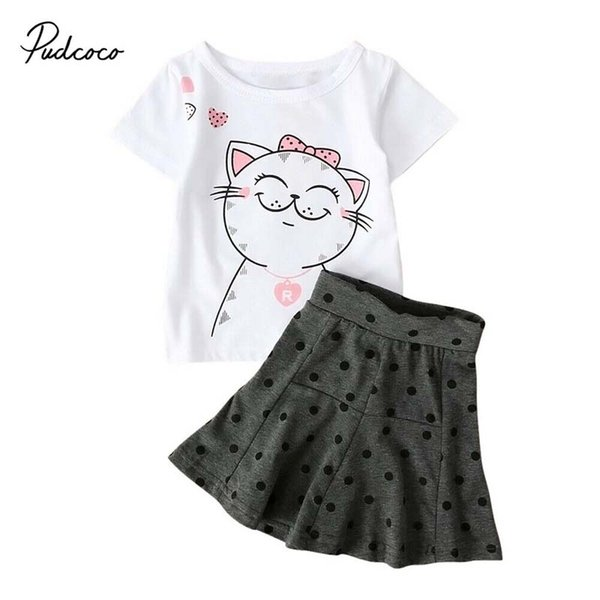 2pcs Toddler Kids Baby Girl Clothes Cat T-shirt Tops+Tutu Skirt Dress Clothing