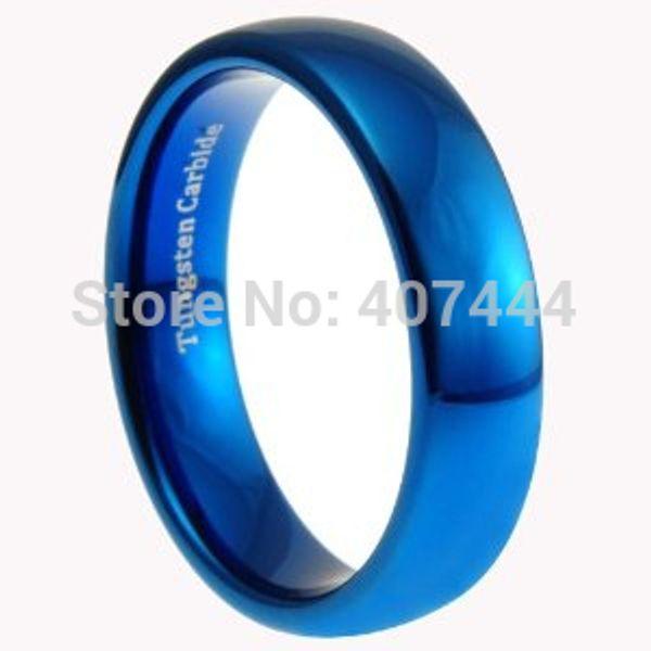 Free Shipping Usa Uk Canada Russia Brazil Hot Sales 6mm Shiny Blue Polished Domed Women&men's New Fashion Tungsten Wedding Ring J190716