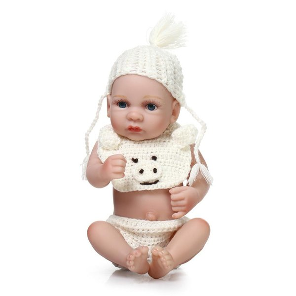Full body silicone reborn baby dolls toy lifelike mini newborn boy babies bathe shower toy birthday gifts bebe dolls collection