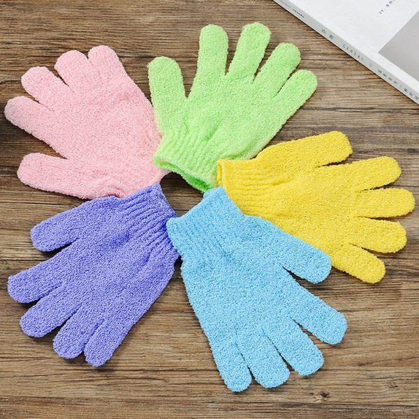 Отшелушивающий полотенце 5 цветов двойной боковой пилинг перчатки отшелушивающий ванна перчатки сруб полиэстер 100 шт DHL
