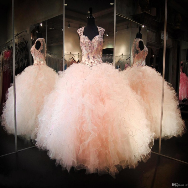 2020 Blush Peach Backless Ball Gown Prom Party Dresses Rhinestone Crystals Sheer V-neck Ruffles Skirt Long Princess Quinceanera Gowns