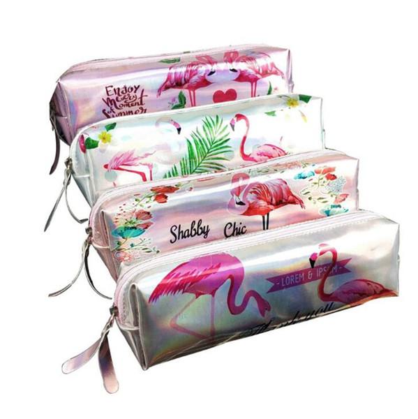 4 Estilos Lápiz Lápiz Flamingo Lápiz Bolsa de Dibujos Animados Bolso de Lápiz de Dibujos Animados Estudiante Papelería de Regalo Suministros de Oficina Bolsas Lápiz Niños Monedero B11
