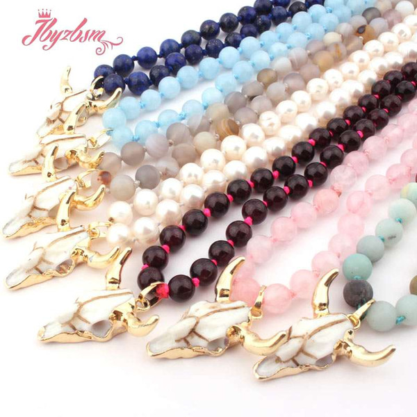 """6mm Round Garnet Lapis Amazonite Natural Stone Beads Bohemian Tribal Horn Pendant Jewelry Necklace For Woman 25"""" Free shipping"""
