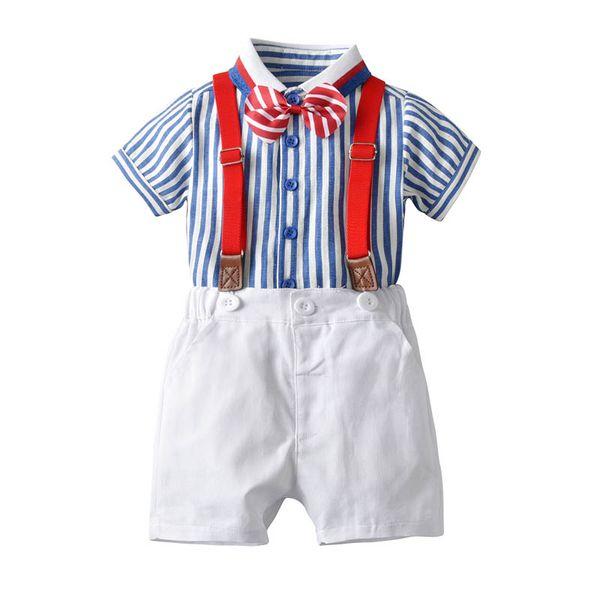 2019 nouveaux vêtements d'été pour garçon pour garçons Boutique costumes pour garçons Ensembles de vêtements pour garçons chemises à nœud papillon + jarretelles designer garçon vêtements enfant A5408