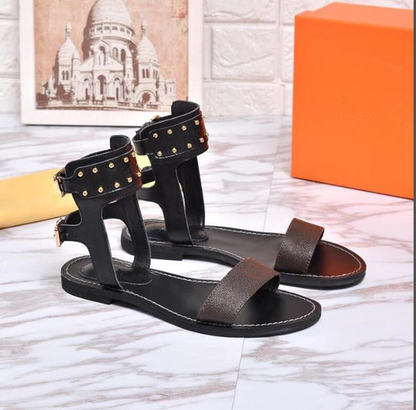 best selling 2019 New Sandals Summer Casual Flat Sandals Luxury Ladies Canvas Gladiator Style Party Sexy Ladies Shoes