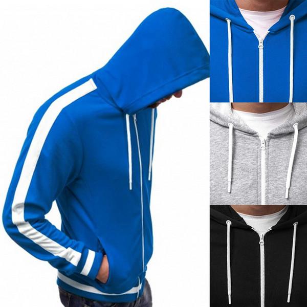2019 Erkekler Moda Çizgili Hoodies Patchwork Fermuar Kazak Streetwear Katı Nedensel Kapüşonlu Sweatshirt Uzun Kollu Sonbahar Mont