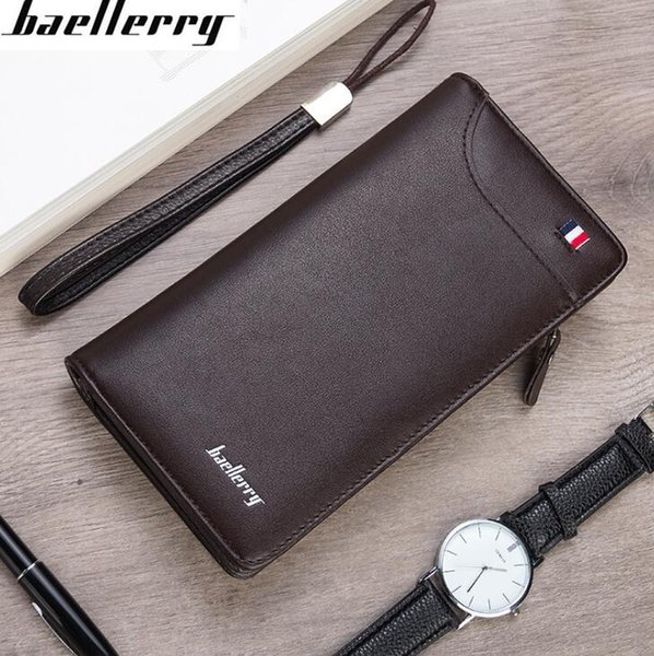 Factory own brand men bag simple new mens long wallet multifunctional leather hand-held wallet retro wild business holding wallet