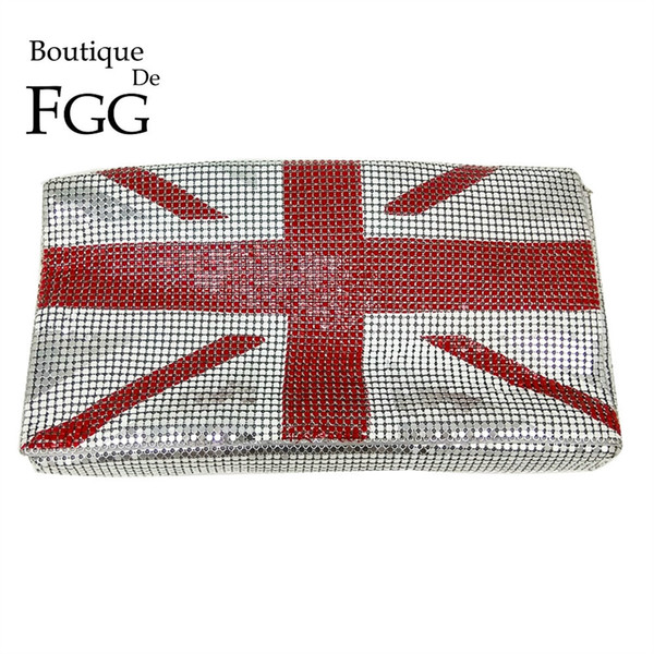 Boutique De FGG UK England National Flag Aluminum Women's Fashion Day Clutches Purse Casual Envelope Handbag Evening Bag #92721