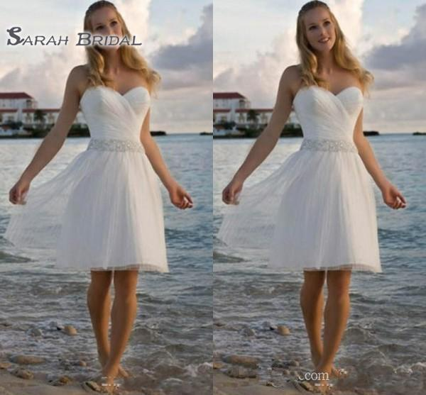 Querida de alta qualidade Rhinestone Tulle vestidos de casamento de praia Casual A linha de vestidos de noiva curto frete grátis