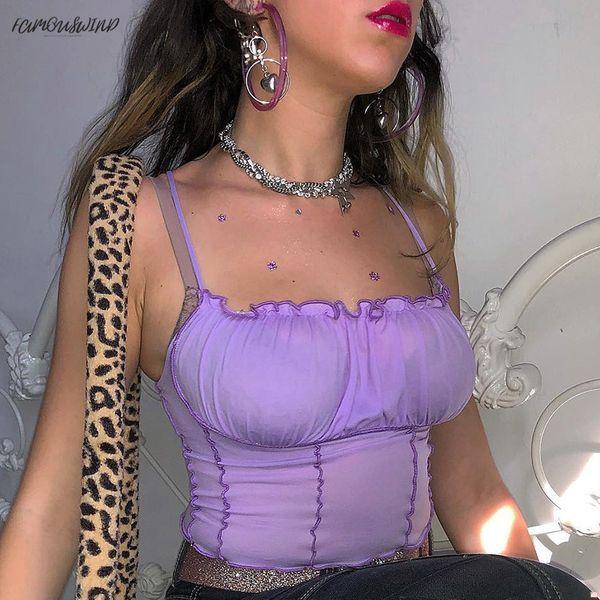 Bodycon Sexy Camisole Backless Crop Top Mujer Correa púrpura de punto Solid Camis Streetwear Fold Cropped Feminino Befree Tops