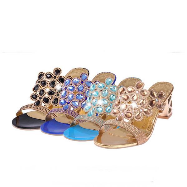 MUQGEW Women Summer Fashion Flip Flops High Heel Sandals Wedges Fat Fashion Girls Rhinestone With Crystal Shoes