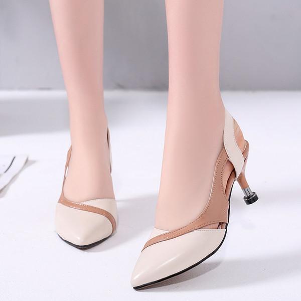 Fairy2019 Hollow Yaz Ince Yüksek topuklu Ayakkabılar Ile Keskin Hakiki Deri Özel Küçük 31 Tek Toka Baotou Kadın Sandalet