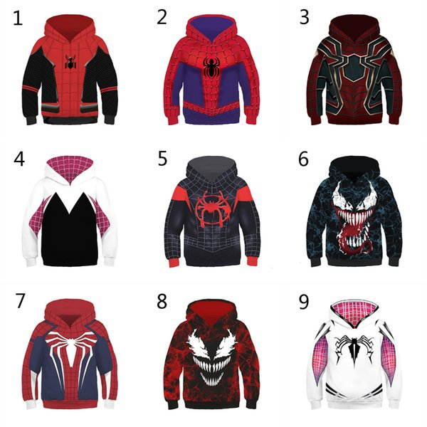 top popular 10 Style Boys Girls Spider-Man Into the Spider-Verse Hoodies 2019 New Children Spiderman Venom Long sleeves 3D Hoodies kids clothing B 2019