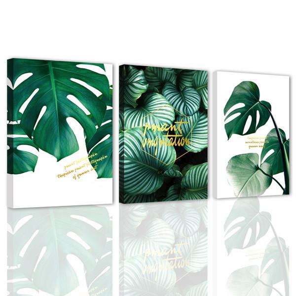 Lienzo Arte de la pared Paneles verdes Carteles de naturaleza Impresiones Imágenes Arte para sala de estar Decoración para el hogar Listo para colgar