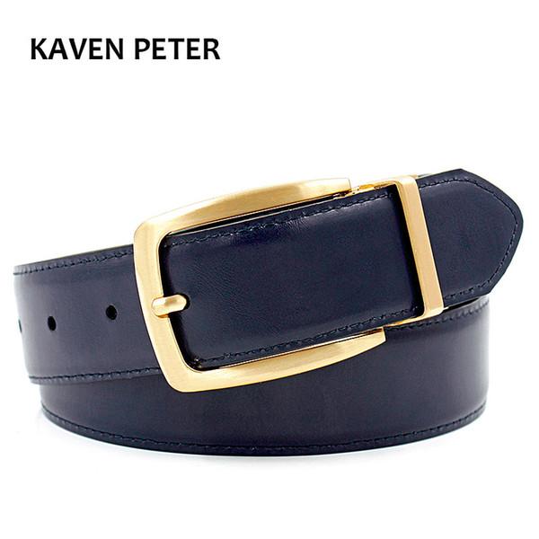 Luxury Gold Reversible Mens Waist Cinture in vera pelle Solid Brass Cintura da uomo Cintura in puro ottone Reversibile fibbia Spedizione gratuita