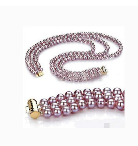 """Charming 3row 9-10 mm round lavender pearl necklace 18""""-20"""""""