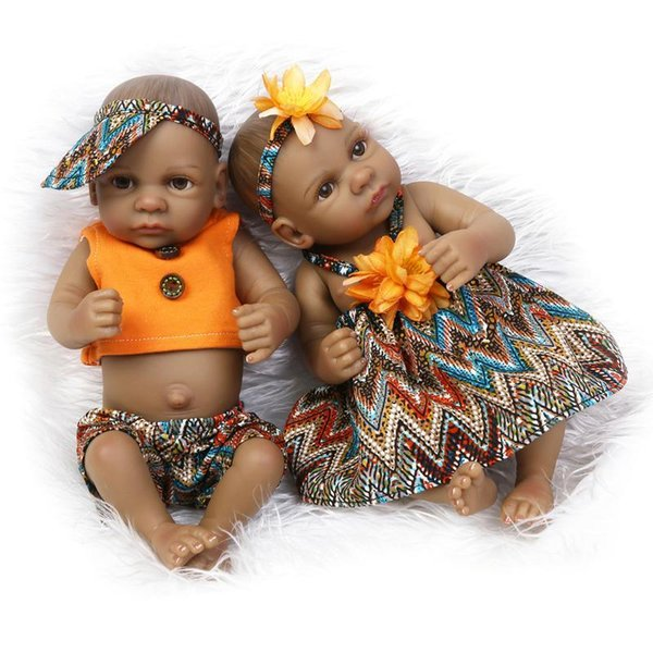 25cm Mini Full Body Silicone Reborn Baby Doll Toy Black Skin Newborn Boy Girl Dolls Bedtime Play House Bathe Toy Birthday Gift