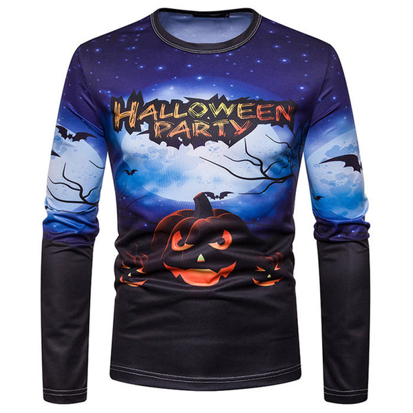 Halloween Party Digital Designer Stampato a maniche lunghe magliette zucca girocollo con stampa Mens Tops Mens Tees
