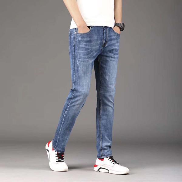 üst seviye vahşi orta yaşlı gevşek düz pantolon eğilimin Mavi siyah gündelik pamuk kot erkek sonbahar Kore versiyonu