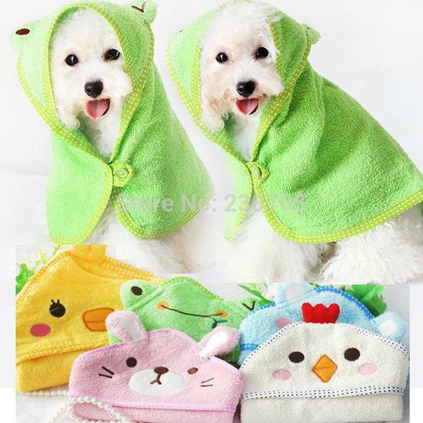 Free shipping 100% cotton cartoon animal bath towel washcloth for dogs towel pet pajamas bathrobes pet clothes products grooming