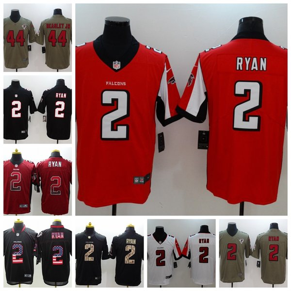 low priced 9030f a1bb0 2018 2019 Mens 2 Matt Ryan Jersey Atlanta Falcons Football Jersey 100%  Stitched Embroidery 44 Vic Beasley JR Color Rush Football Stitching Jersey  From ...