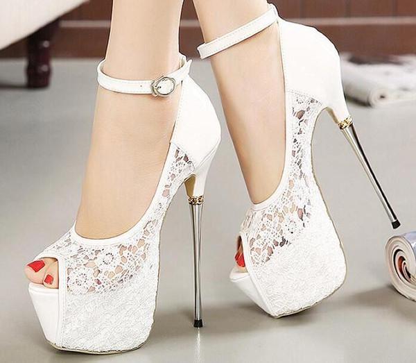 Fashion Night Club Party Shoes Banquet Sexy Womens Shoes Super High Heels Shoe Ladies Platform pumps Stilettos Heel 16 cm Lace Shallow out