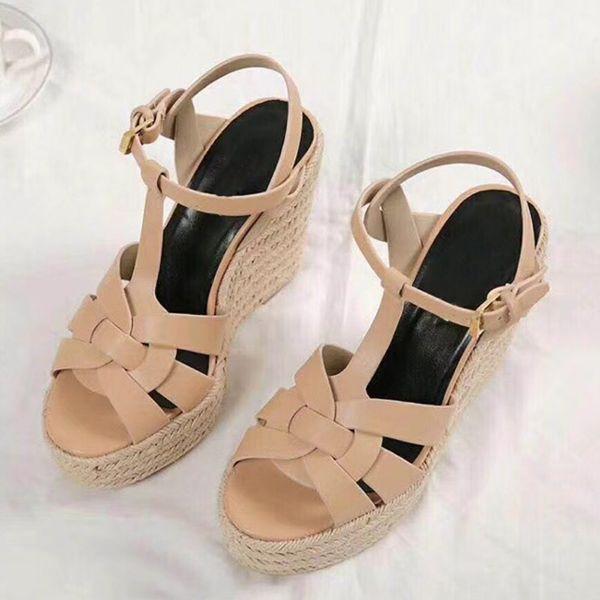 여름 여성 샌들 신발 여성 펌프 플랫폼 웨지 뒤꿈치 패션 캐주얼 루프 Bling Star 두꺼운 유일한 여성 신발