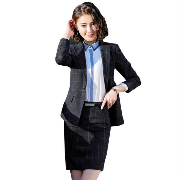 Womens Business deux pièces jupe ou pantalon ensembles veste noire et jupe ensemble femmes élégantes plaid uniforme travail ou pantalon costumes