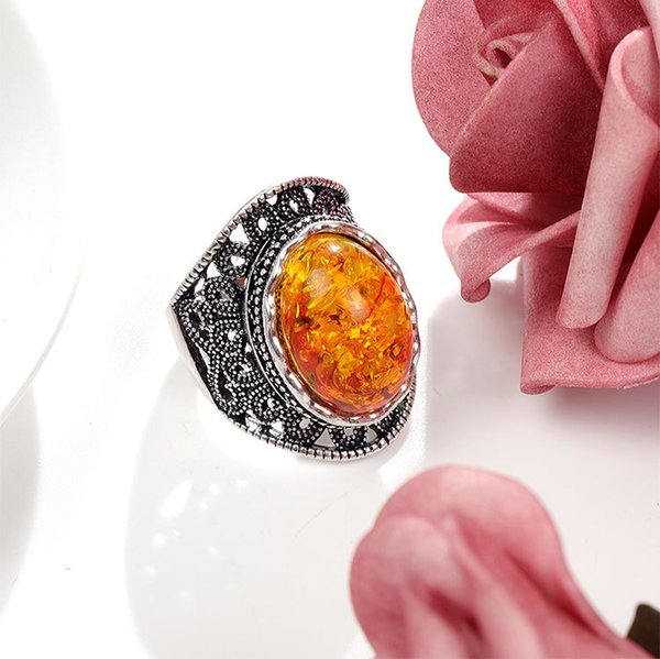 Nice Tibetan silver inlaid Amber Ring 7-10#, European and American aristocracy Men's and women's Amber Alloy Ring