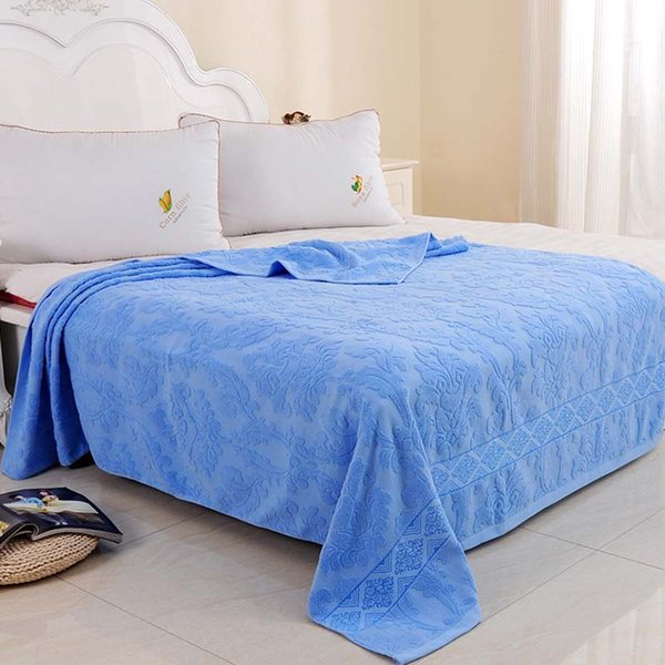 Jacquard Cotton Towel Thread Blanket for Adults Kids Soft Breathable Bedspread Bedclothes Summer Throw Blankets on Sofa/Bed