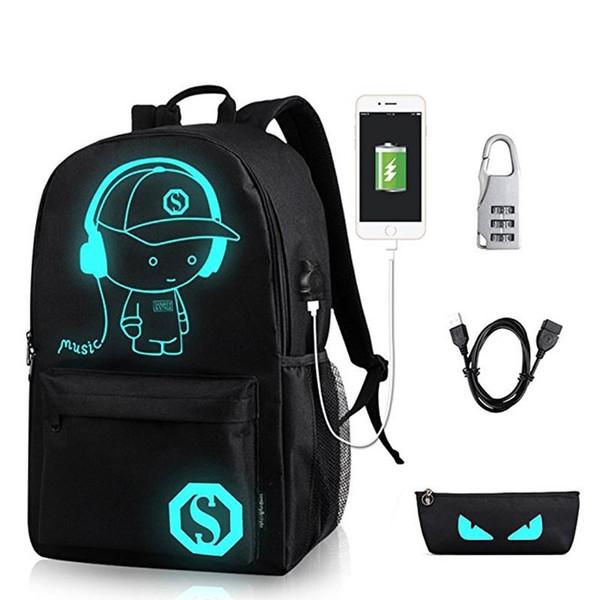 Anime Luminous Student School Bag School Backpack For Boy Girl Daypack Multifunction Usb Charging Port And Lock School Bag Black J190427