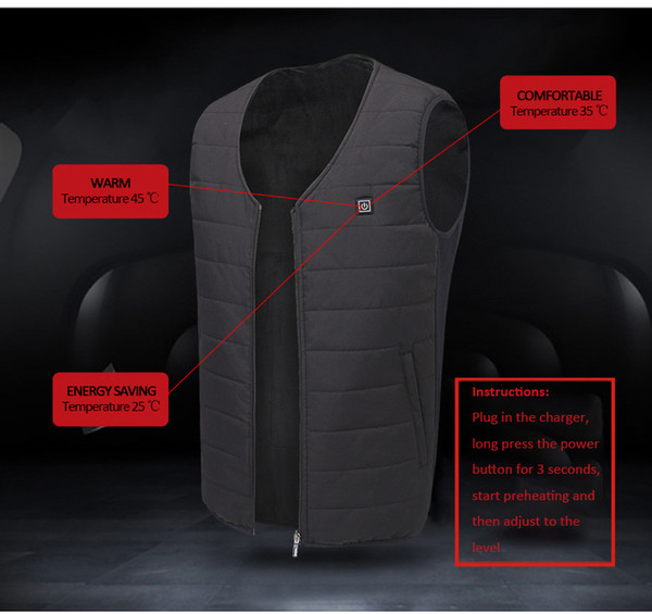 2018 winter heated vest men women electric heated jacket thermal clothes fishing hunting fast heat waistcoat gilet chauffant thumbnail