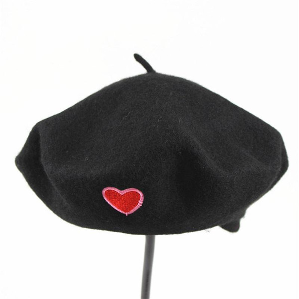 2019 winter Warm cotton Love embroidery beret hats for women and girl Painter hat Beanie cap 04