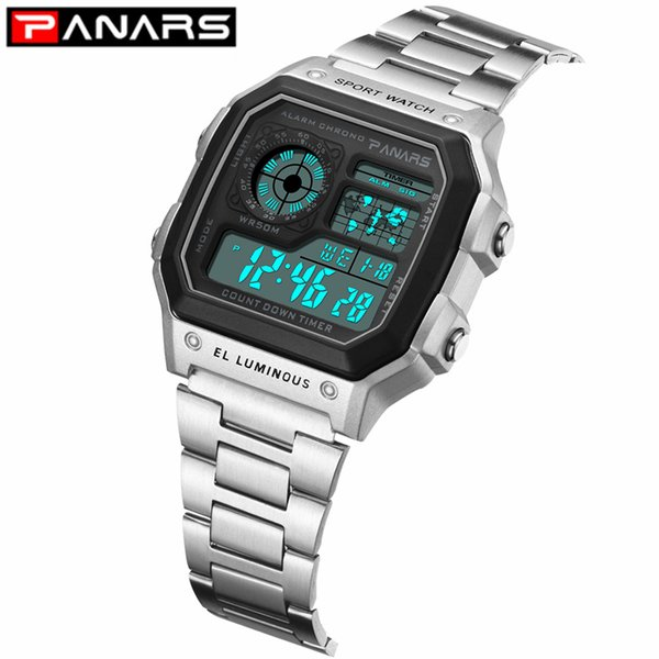 PANARS 2019 New Business Men Watch Luminous Multi-function Men's Waterproof Wrist Watch Fitness Digital Alarm Timer Clock
