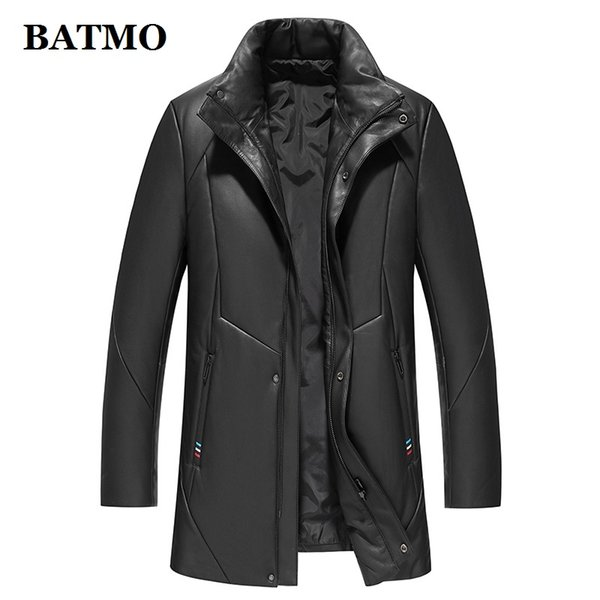 BATMO new arrival winter high quality 95% white duck down jackets men,mne's thicked real leather trench coat ,9022