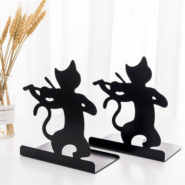 Creative Metal Cat Bookends Book Holder Black Decorative Desk Art Book Stand Support Home Office Book Stopper Organizers SY0168