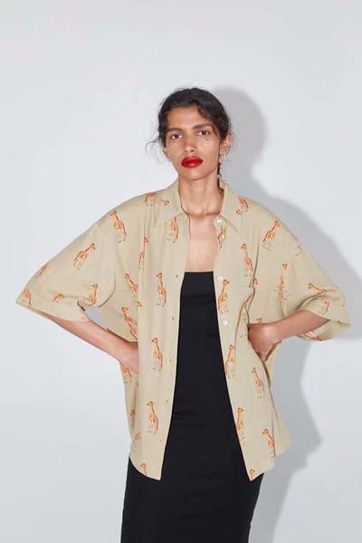 Camisa das mulheres 2019 Outono Animal Print Blusa Cardigan Tops D3-25121