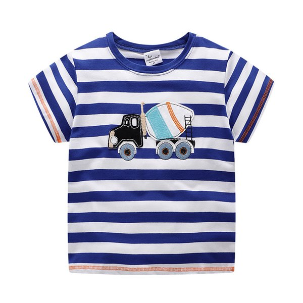 European and American children's clothing spring and summer new embroidery short sleeve cement car pure cotton T shirt boy short T shirt