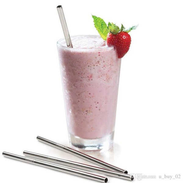 200X Eco-Friendly Straight Metal Drinking Straw Stainless Steel Reusable Straws For Beer milk tea Fruit Juice Drink